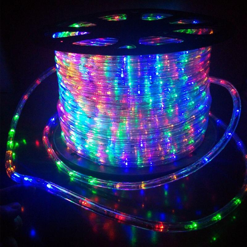 EU Plug lumière LED bande extérieure néon lumières décoration PVC rond 2 fils carré jardin étanche bande noël clignotant lumières