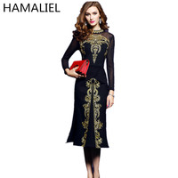 HAMALIEL Plus Size Autumn Women Black Dress 2018 Runway Gold Embroidery Long Sleeve Stretch Elegant Split Party Dress Vestidos