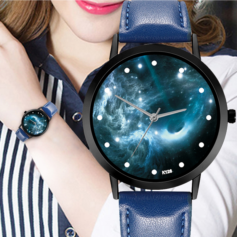 Quartz Space System Watch Astronomy Planets Casual Unisex Classy Creative Unique Solar Leather Strap Analog Watches in Quartz Watches from Watches