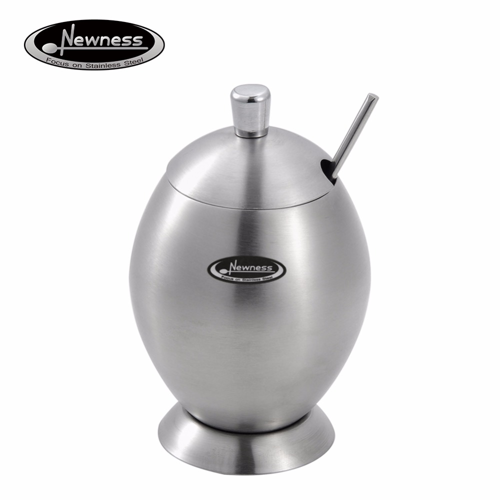 online get cheap stainless steel sugar bowl aliexpresscom  - newness stainless steel sugar bowl with lid and sugar spoon for home eggshape(
