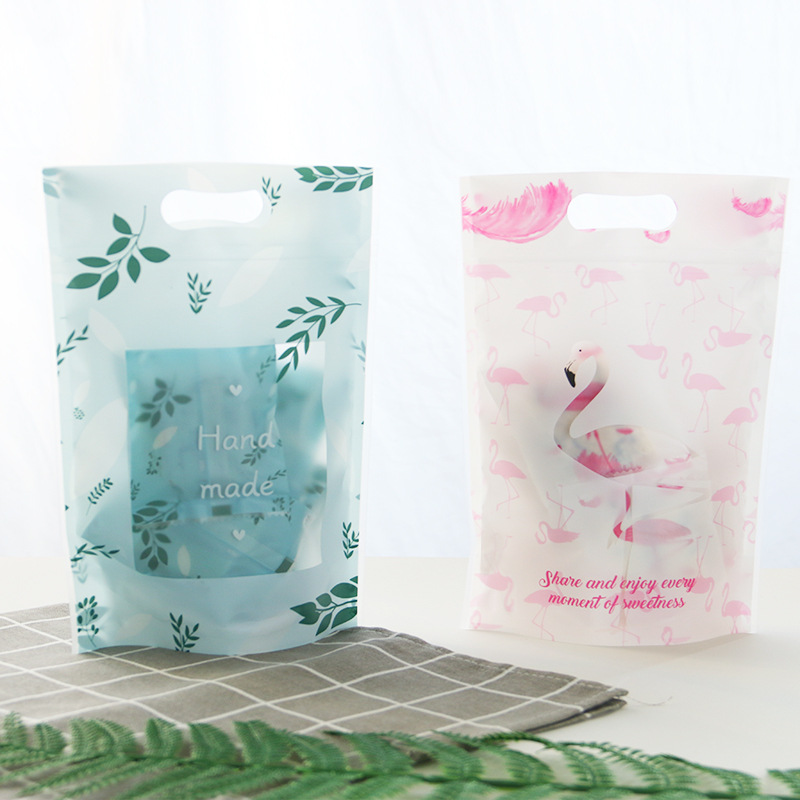 10PCS New Flamingo Candy Cookie Self-Styled Packaging Bag Handmade Biscuits Oatmeal Plastic Zipper Bag Wedding Party Gift Bags