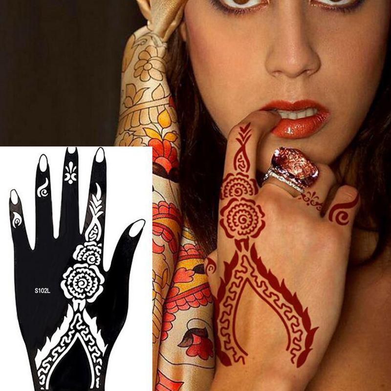 Free Shipping 10 Pcs Mixed Design India Henna Temporary Tattoo Stencils For Hand Leg Arm Feet Body Art Decal