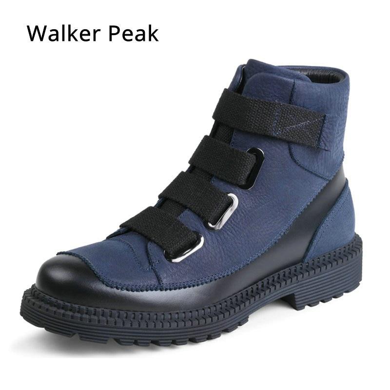 Uomini di modo di Inverno Scarpe, Genuino Stivali Invernali In Pelle per Uomo Impermeabile Stivali Da Moto Confortevole Caviglia Stivali Camminatore di picco
