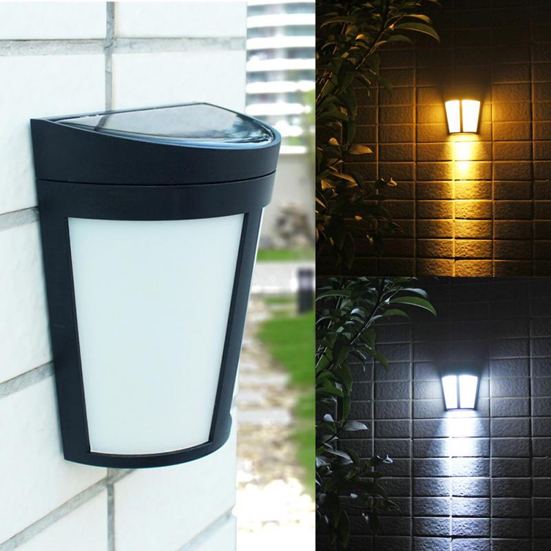 Outdoor Energy Saving Sensor Solar Light Garden Courtyard Waterproof Fence Light Wall Lamp Decor Light white/warm white fghgf 2018 light sensor 6 led wall light outdoor garden fence ip55 waterproof lamp automatically light gutter fence warm white