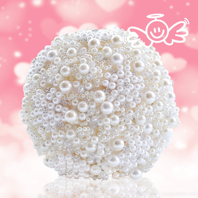 Custom made luxury pearls artificial bouquet handmade crystal ivory brooch bouquet 2018 new wedding flowers bridal bouquets