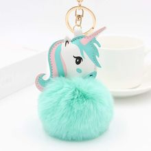 Pom Unicorn Keychain Rabbit Fur Ball Horse Key chain porte clef holder fluffy pompon Bag Car Key Ring For Women Accessories(China)