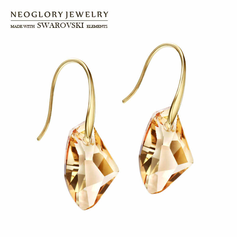 Neoglory Austria Crystal Long Dangle Earrings Light Yellow Gold Color Exquisite Geometric Design For Women Gift Classic Trendy