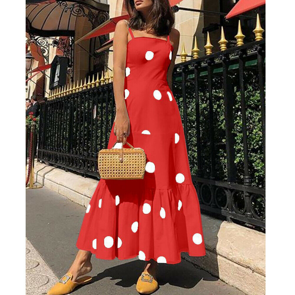 New Fashion Women's Summer Boho Casual Long Maxi Dress Girl's Lady Strappy Polka Dot Holiday Party Beach Dress Sundress