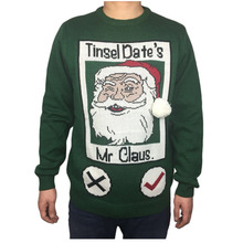 Funny Knitted Ugly Christmas Sweater for Men Cute Mens Green Xmas Sweaters Santa Holiday Pullover Jumper Oversized S-2XL