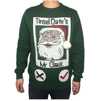 Funny Knitted Ugly Christmas Sweater for Men Cute Men's Green Ugly Xmas Sweaters Santa Holiday Pullover Jumper Oversized S-2XL