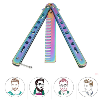 Foldable Comb Stainless Steel Practice Training Butterfly Knife Comb Beard & Moustache Brushes Hairdressing Styling Tool цена 2017