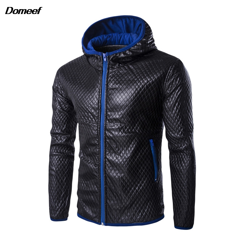 Domeef Autumn Plaid Hooded Men Leather Jackets Fashion Male Motorcycle Jacket Slim Fit Mens Faux Leather