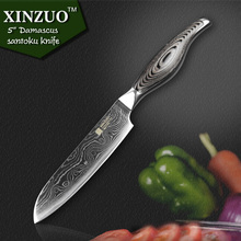 5″ inches santoku knife Japanese VG10 Damascus kitchen knives Japanese chef fruit knife forged wood steel handle FREE SHIPPING