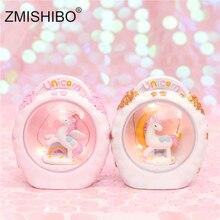 ZMISHIBO LED Resin Unicorn Hamster Night Lights Cute Animal Home Decor Lighting Table Bedside Lamp Kids Toy Sweet Holiday Gift