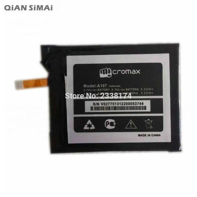 QiAN SiMAi 1pcs 100% High Quality A107 1500mAh Li-ion Battery For Micromax A107 Mobile phone  Freeshipping + Tracking Code