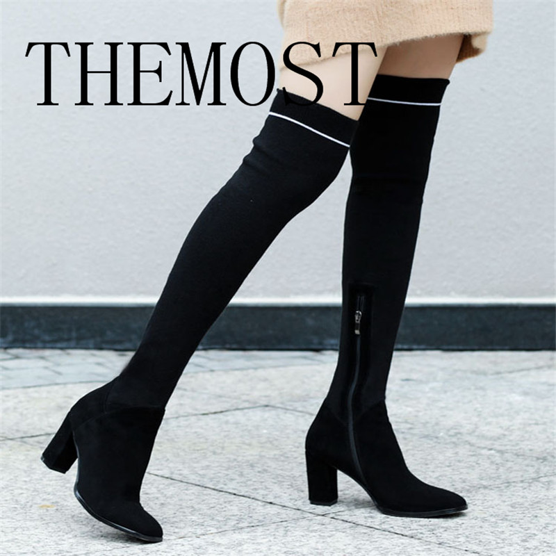 THEMOST knitting Boots Women Over The Knee High Boots Autumn Winter Knitted Shoes Long Thigh High Boots Elastic Slim Boots fashion women boots knee high elastic slim autumn winter warm long thigh high knitted boots woman shoes or935432
