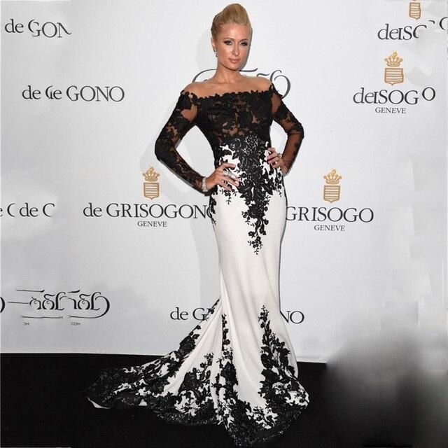 1ae0c30632 Met Gala Paris Hilton blanco y negro pura joya Appliqued manga larga de  encaje sirena vestidos