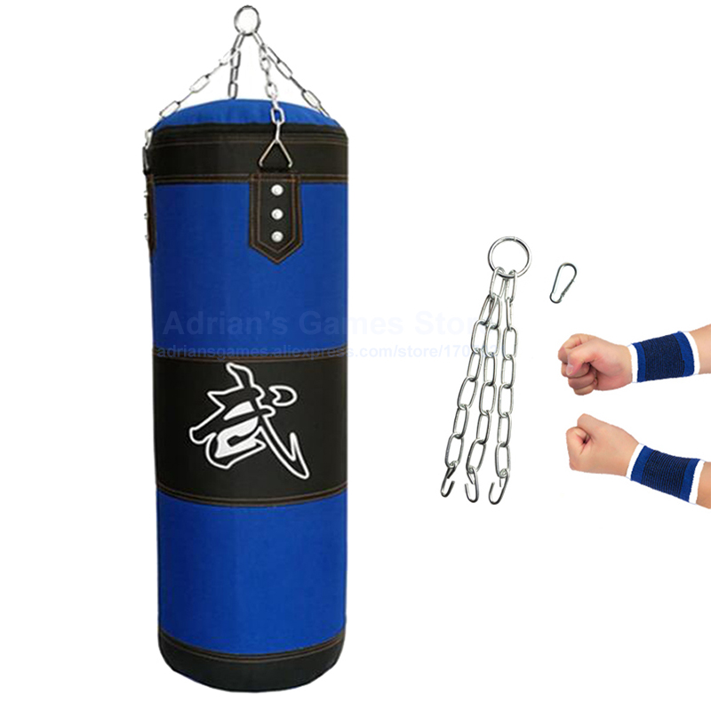 60/80/100/120/150/200cm Thickened Blue Canvas Punching Bag Unfilled Crossfit Heavy Duty Boxing Bags Muay Thai Boxsack Sand Bag