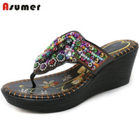 ASUMER 2018 new arrive summer women slippers wedges beading hot sale flip flops restoring shoes woman leisure fashion shoes