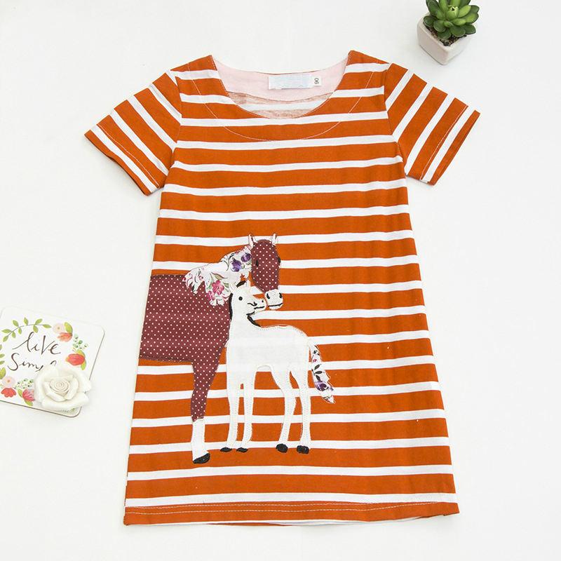 Baby Girls Dress 2018 New Stripe Animal Horse Embroidery Dress for Girls Clothes Princess Dresses Kids Clothing