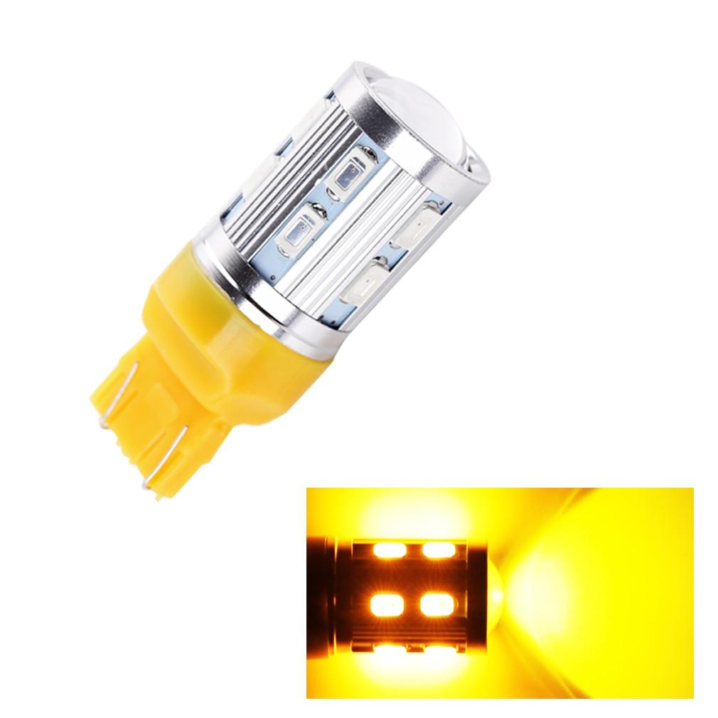 1PCS 7443 7440 Car LED bulbs 12 SMD 5730 W21/5W 5W High power Cree Chip XPE LED lamp Bulbs car light source parking Yellow Amber
