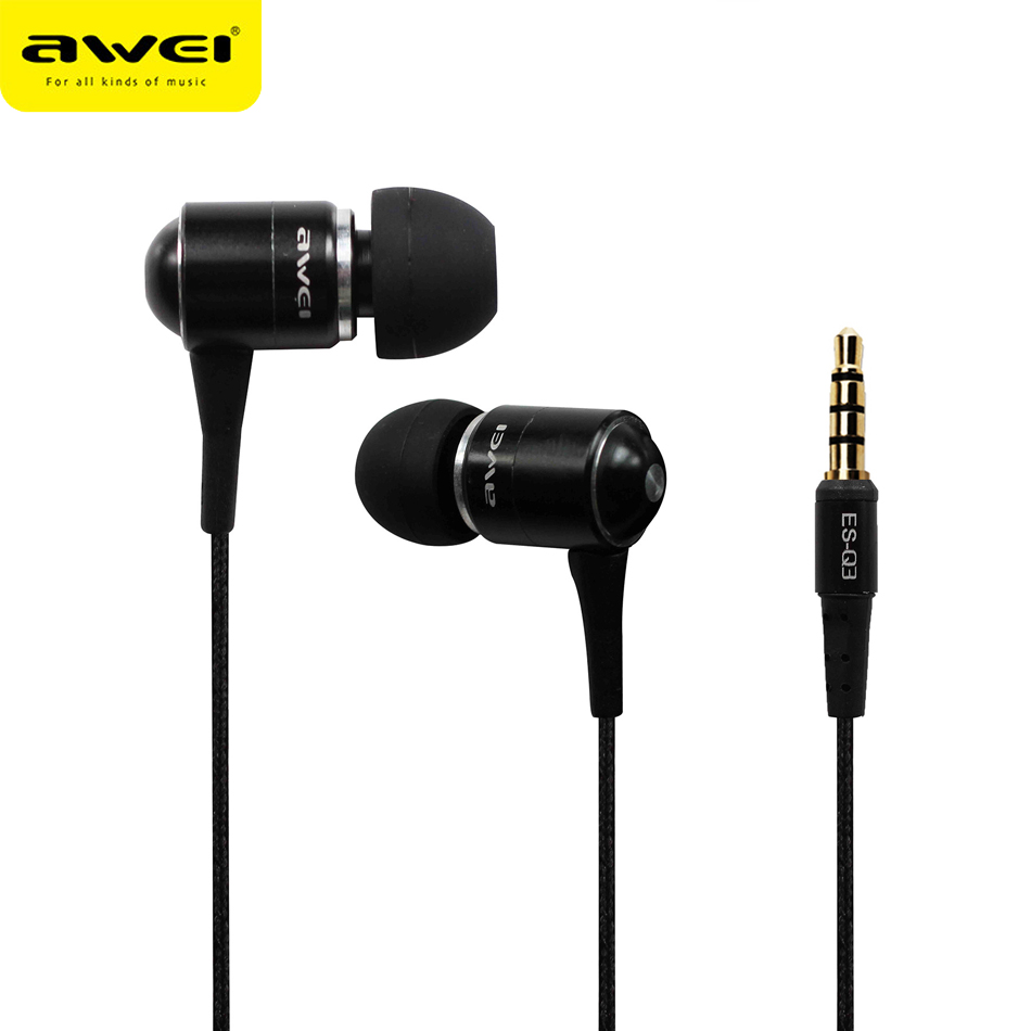Original Awei ES Q3i Super Bass In-ear Earphone with 1.2m Cable Mic Noise Isolation Earphones for Smartphone fone de ouvido 3 5mm in ear earphones with mic