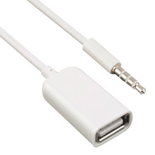 Dewtreetali free shipping 3.5mm Male AUX Audio Plug Jack USB Female Converter Cord Cable Car MP3 Car Accessories(China)