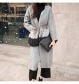 2016 nuevo otoño invierno de alta calidad 100 real de piel de zorro bolsillos loose oversize gris cardigan largo suéter de lana de punto de las mujeres escudo