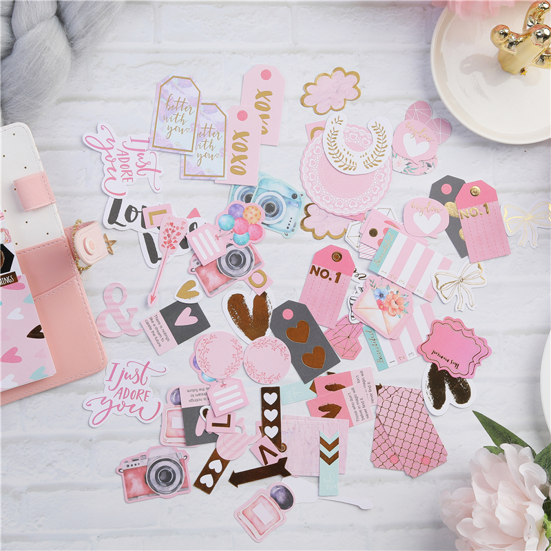 Lovedoki notebook Accessorie Sticker 90 Pcs Cardstock Diy Cuts For Scrapbooking Notebook Journaling Project Diy Cute Stationery newborn simulation babydoll silicone vinyl doll educational enlightenment baby toys girls present