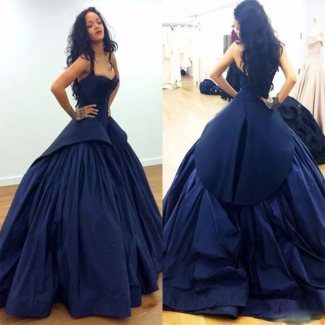 f232fd6531 Nave Blue Prom Dresses 2016 Sweetheart Pleats Satin Arabic Celebrity Dress  Long Peplum Vestidos Formal Gowns