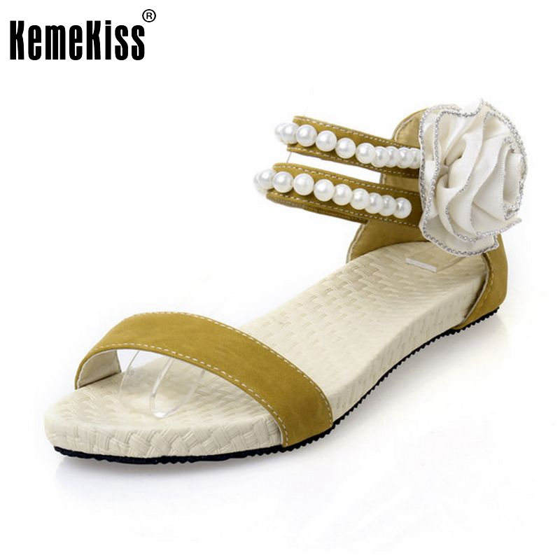 Big size 34-43 Women Sandals Fashion Bohemia Beade Ankle Strap Flower Summer Shoes Open Toe Flats Heel Female Sandals PA00297 sgesvier fashion women sandals open toe all match sandals women summer casual buckle strap wedges heels shoes size 34 43 lp009