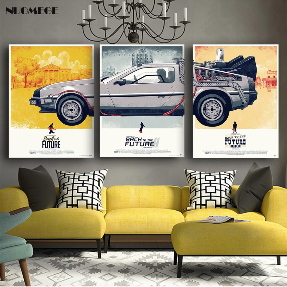 NUOMEGE Back To The Future Car Poster Art Paintings Silk Canvas Print Classic Movie Pictures Home Decor Boy Kid Gift