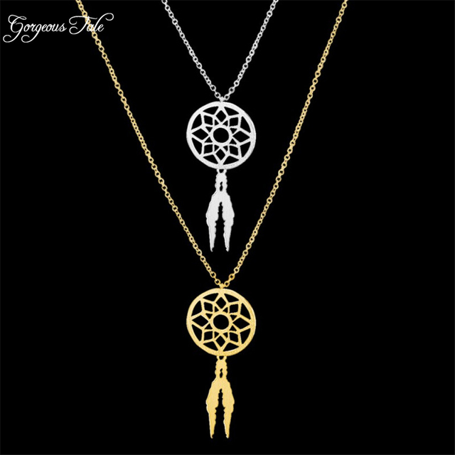 Boho Jewelry Dream Catcher Pendant Dreamcatcher Supernatural Necklace Women Accessories Bohemia Charm Chain Choker Necklace