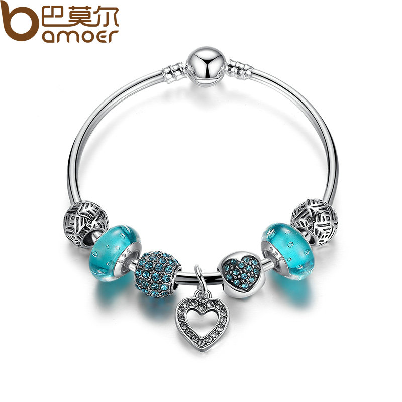 Bamoer Simple Friendship Bracelets Silver Color Heart Pendant