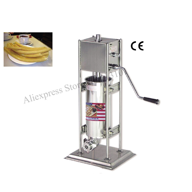 Deluxe Commercial Stainless Steel Churro Maker 5 Liters Upright Manual Churros Machine Capacity 5 Liters commercial deluxe stainless steel 3l churro maker 6l electric fryer manual spanish churros making machine capacity 3l