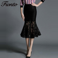 FIONTO Sexy Elegant Black Mermaid Skirts Bodycon Long Skirts Lace Patchwork See Through Trumpet Office Skirt