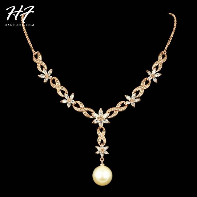 N543 Imitação de Pérolas de Cristal Do Casamento Da Flor Rose Banhado A Ouro com Alto Grau Marquise-corte CZ Colar De Cristal De Noiva