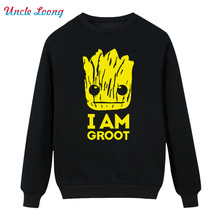 Printed Guardians of the Galaxy Winter High quality Men O Neck Cotton I Am Fashion Hoodies