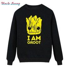 Printed Guardians of the Galaxy Winter High-quality Men O-Neck Cotton I Am Fashion Hoodies Sweatshirt Plus Size