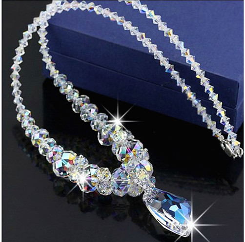 Europe Fashion Crystal Jewelry Accessories, Austrian Crystal Bead Necklace Sweater Chain Necklaces & Pendants For Women vintage faux crystal water drop sweater chain jewelry for women