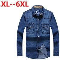 8XL 7XL 6XL 5XL 4XL New Brand Men Shirt Long Sleeve Mens Denim Shirt 100% Cotton Casual Dress Jean Shirts Plus Size 100% Cotton