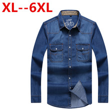 8XL 7XL 6XL 5XL 4XL New Brand Men Shirt Long Sleeve Mens Denim Shirt 100% Cotton Casual Dress Jean Shirts Plus Size 100% Cotton