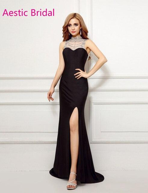 f49e34acf3 Aberturas Laterales de Formatura vestido de Cuello Alto Negro Sirena Con  Cuentas Escote Vestido de Fiesta