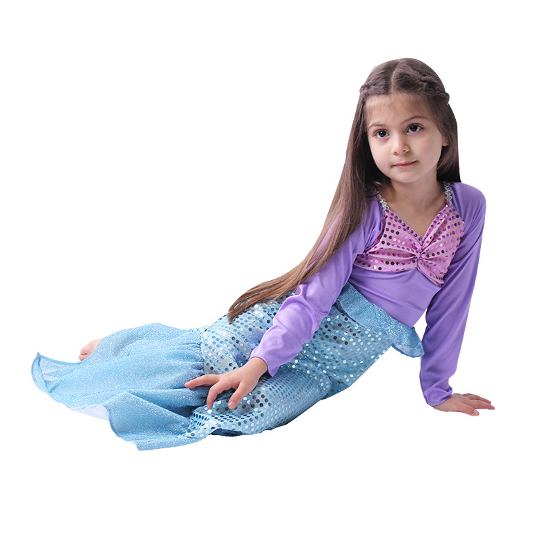 Fairy Tale Girl Mermaid Costume Children Princess Ariel dress Costume Girl Party fancy princess dress