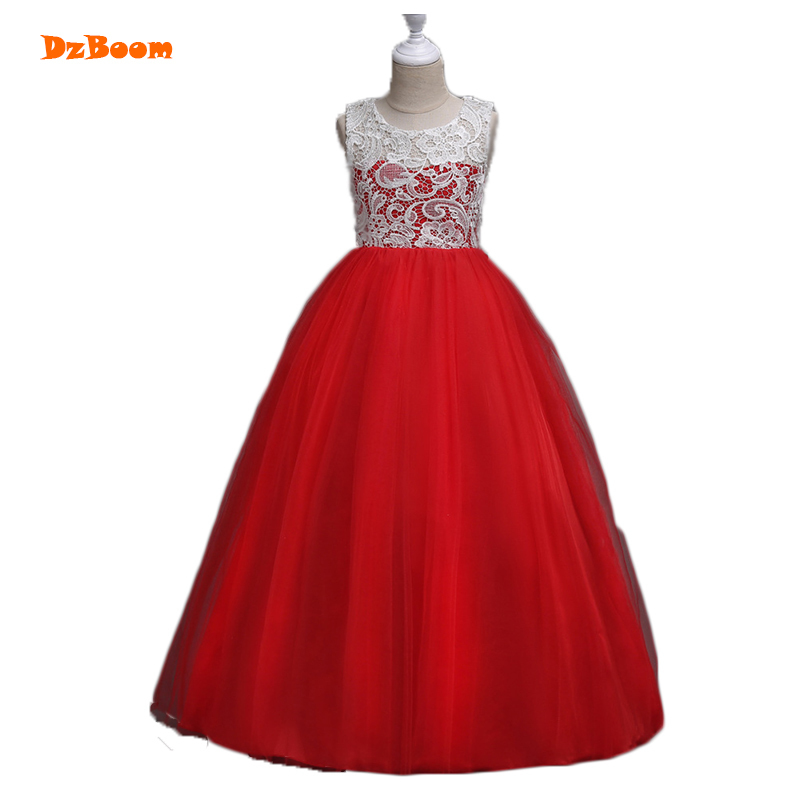 DzBoom Summer Lace Hollow Sleeveless Long Girls Dresses Children Clothing  Multiwall Tulle Kids Princess Dress Party c0e860c6083a