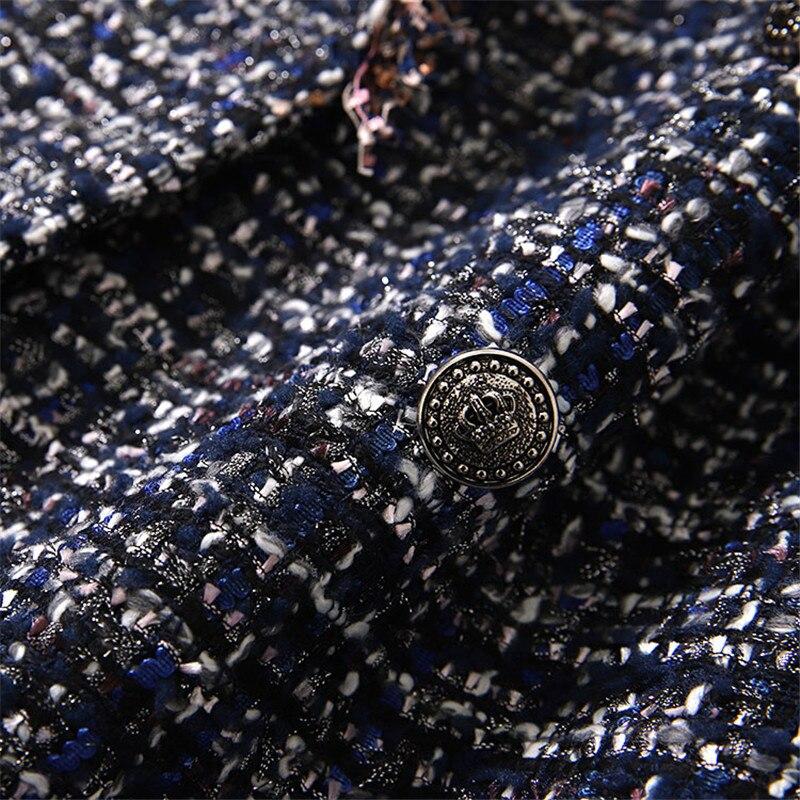 Petto Con Tweed Mano Donne Lusso Blu Giacche A Collare Fatti Breve Di Doppio Nappa Le Sportiva Per Intaglio Cappotto Vintage Giacca C47vSxO