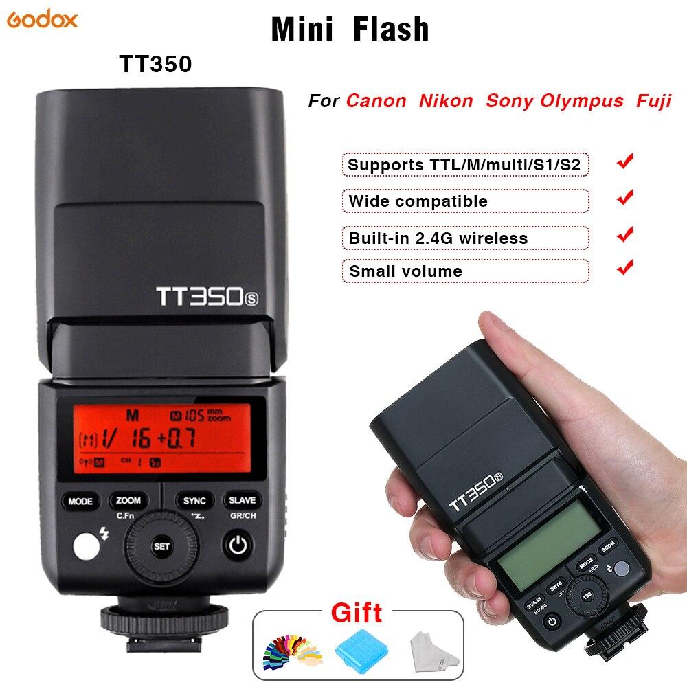 Mini flash Speedlite Godox TT350 TTL 2.4G Wireless Micro single flash Hot shoe USB For Canon Nikon Sony Olympus/Panasonic Fuji