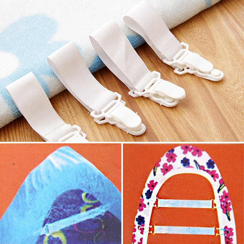 Straps Mattress Bed-Sheet Home Elastic No with 2-Non-Slip-Clips Fastener Gripper Clip-Set