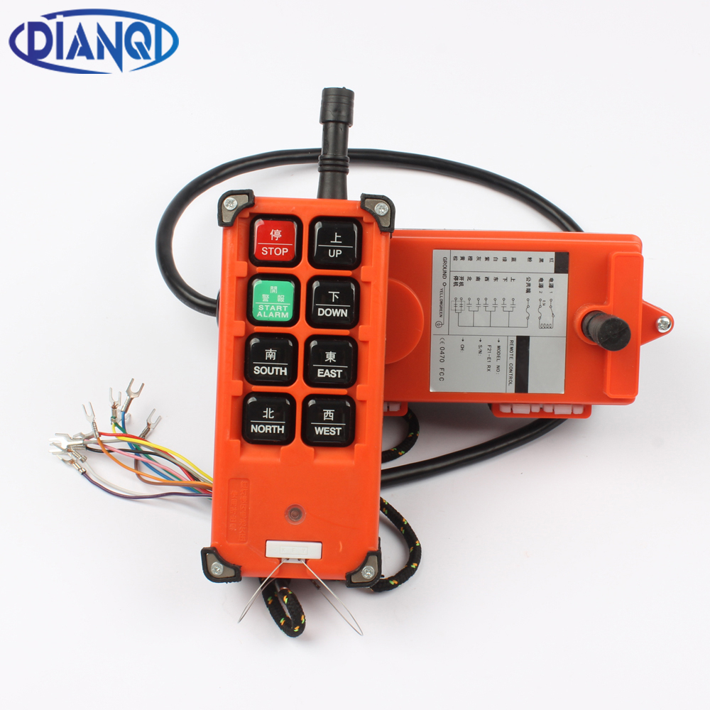 DIANQI Industrial remote control hoist crane push button switch with 8 buttons 1 receiver+ 1 transmitter  for truck hoist crane ac65 440v industrial remote control wireless hoist crane remote control switch 1 receiver and 1 transmitter push button switch