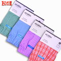 Breathable ! Woven 100% Cotton Men Boxer Underwear Shorts 4-Pack Band Plaid Loose Thin Really Good Quality Worth Your Buying